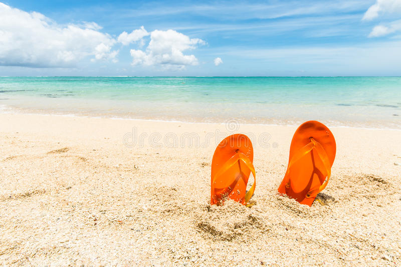 Flip-flops at the beach stock photography