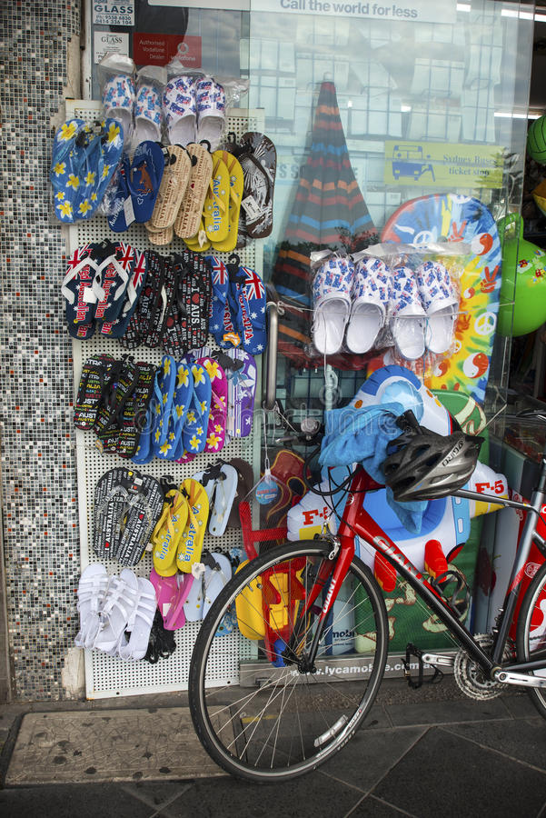Flip Flops shop Bike stock images