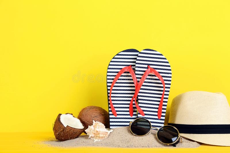 Flip flops with coconuts stock photo