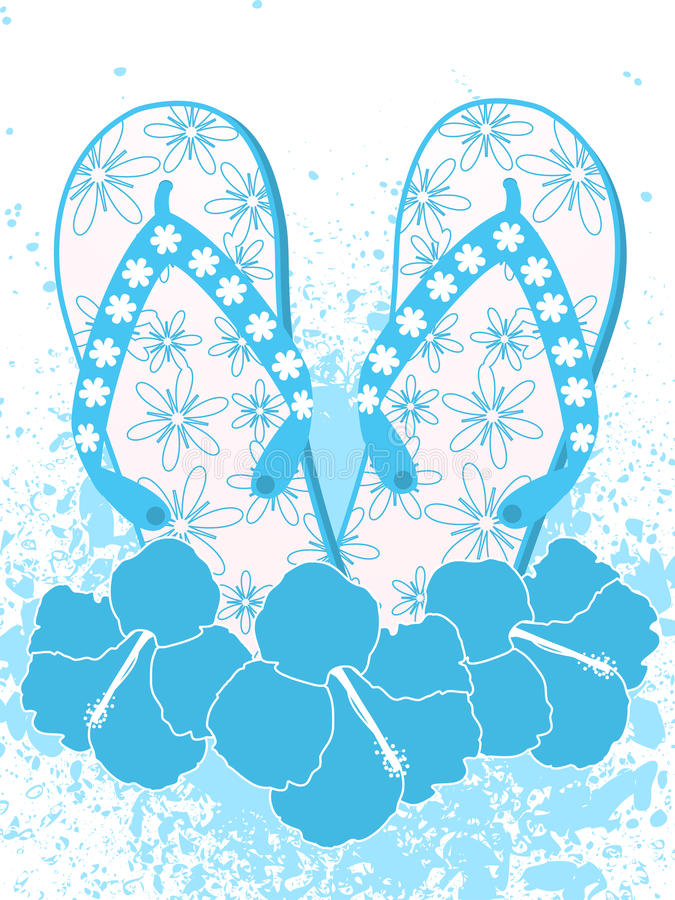 Flip flops and hibiscus flowers stock illustration