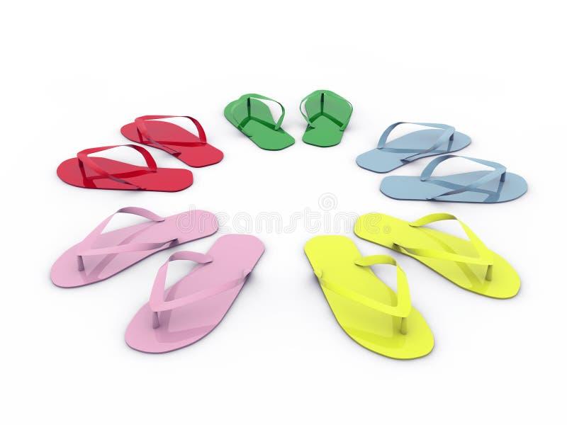 Flip-flops isolados no fundo branco ilustração royalty free