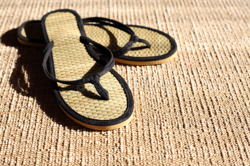 Flip-Flops On Jute Stock Images