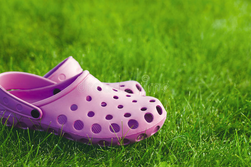 Flip-flops on the lawn. Pink flip-flops on the lawn royalty free stock image