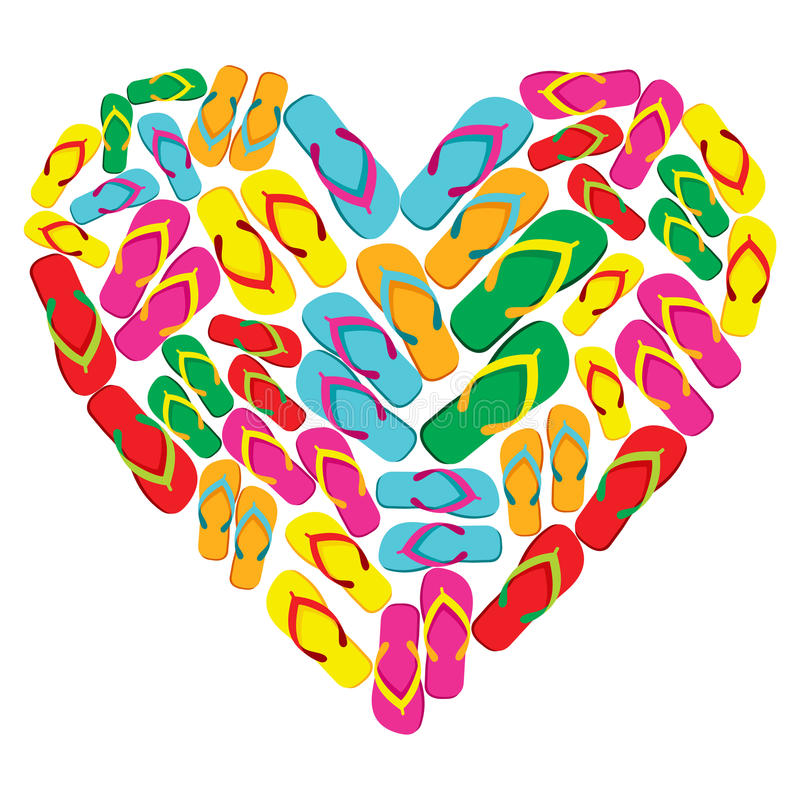 Download Flip Flops In Love Heart Shape Stock Vector - Image: 25130779