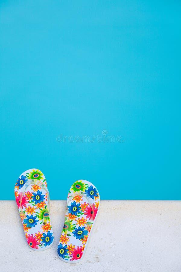 Download Flip-flops Near The Swimming-pool Stock Photo - Image of slipper, nobody: 18590556