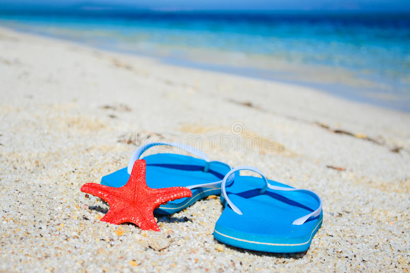 Flip flops and red starfish by the sea. Blue flip flops and red starfish by the sea royalty free stock photos