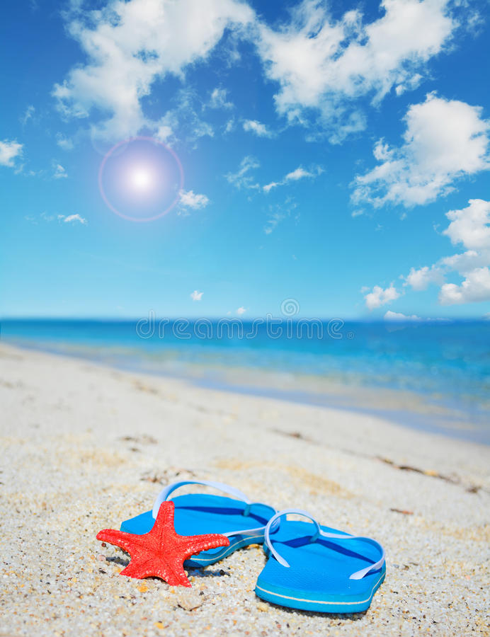 Flip flops and red starfish by the sea under the sun. Blue flip flops and red starfish by the sea under a shining sun stock photos