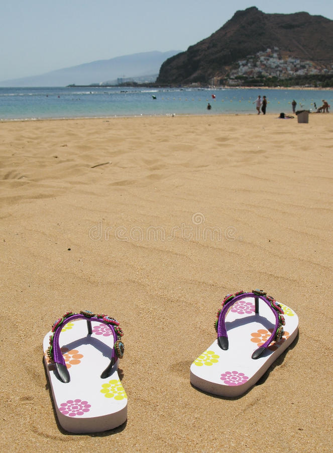 Download Flip-flops on the sand stock image. Image of canary, holiday - 24335369