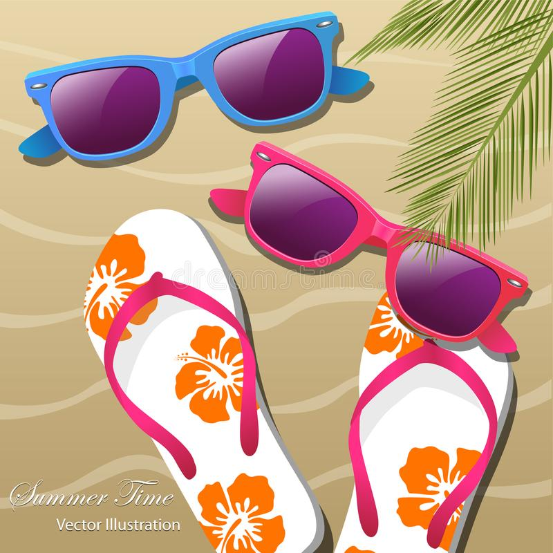 Flip- flops in the sand, sun glasses and palm leaves vector illustration