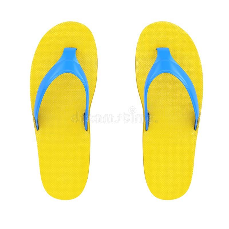 Flip Flops Sandals amarelo rendição 3d ilustração royalty free