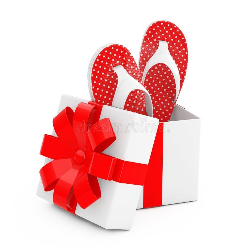 Flip Flops Sandals Come Out moderno de la caja de regalo con Ribb rojo stock de ilustración