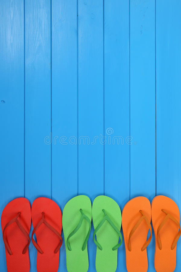 Flip Flops sandals in summer on vacation, holidays with copyspace. Flip Flops sandals in summer on vacation, holidays, traveling with copyspace royalty free stock photography