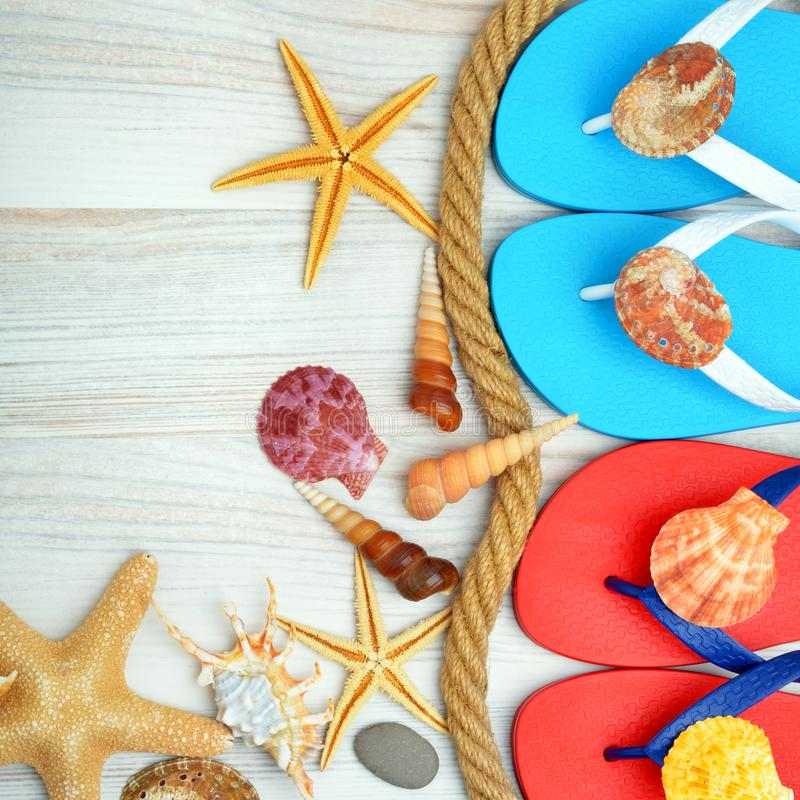 Colored flip flops with sea shells and stars. royalty free stock image