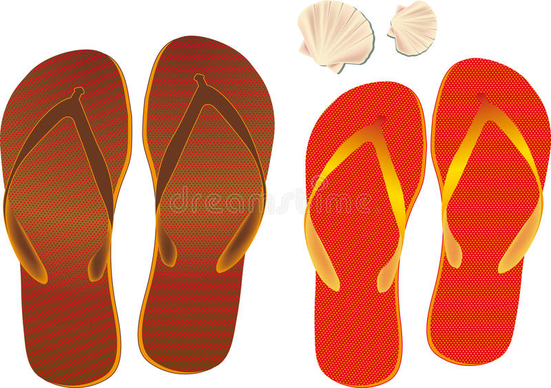 Flip flops and Shell stock photo