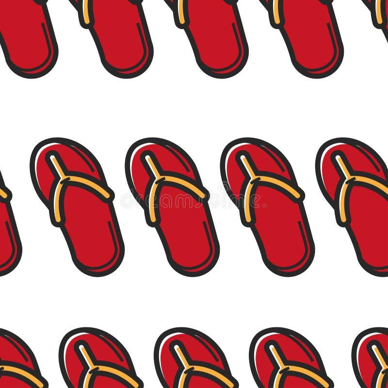 Flip flops or slippers summer footwear seamless pattern royalty free illustration