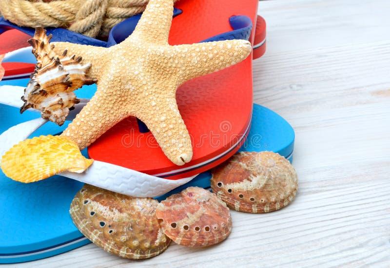 Flip-flops, starfish and seashells. stock photo