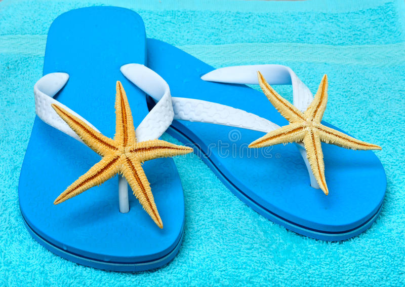 Flip flops with starfish. royalty free stock photography