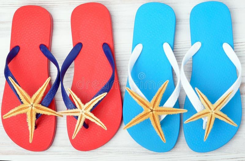 Flip-flops and starfish. stock photos