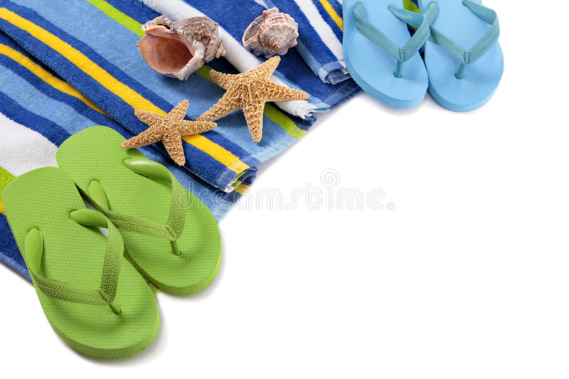 Flip flops and summer beach objects on white background. Flip flops and summer beach objects on white stock photos