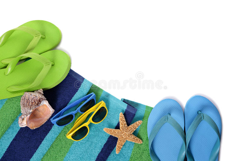 Flip flops and summer beach objects on white background. Flip flops and summer beach objects on white royalty free stock photos