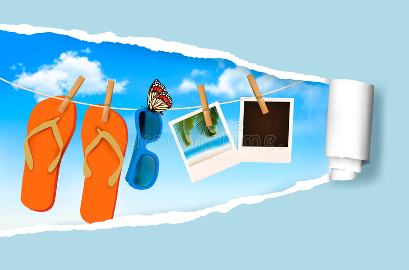 Flip flops, sunglasses and photo cards hanging on royalty free illustration