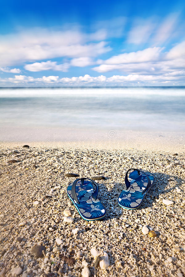 Download Flip Flops On Tropical Beach Stock Photo - Image: 22412724