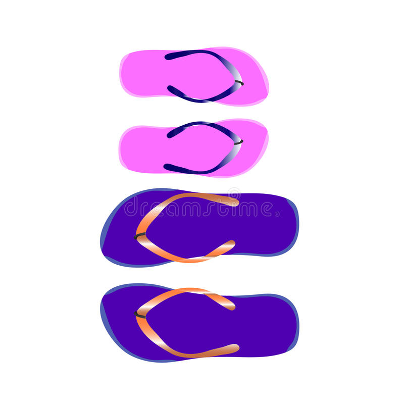 Flip-flops for women and men, for the beach on a white background. royalty free stock photography