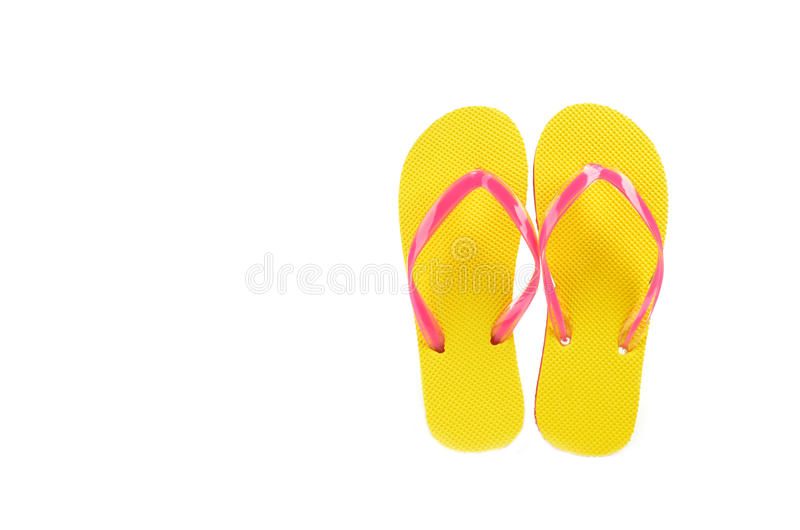 Flip Flops Yellow a isolé sur le fond blanc photo stock