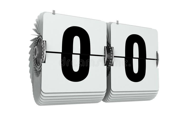 Flip numbers zero. 3d illustration isolated on white. royalty free illustration