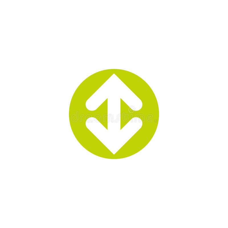 Flip Vertical symbol Två som är vita mitt emot pilar i den gröna cirkeln som isoleras på vit Plan symbol utbyte royaltyfri illustrationer