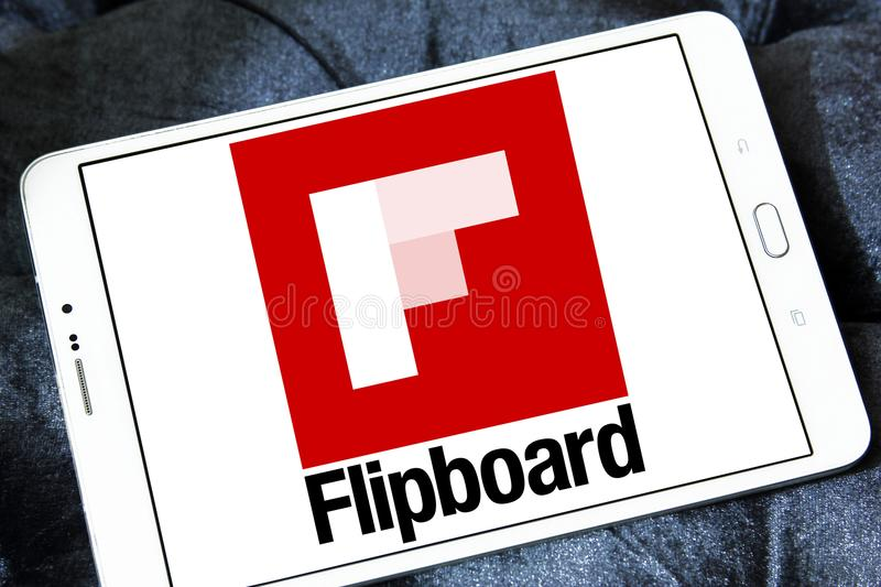 Flipboard logo. Logo of Flipboard on samsung tablet. Flipboard is a news aggregation and social network aggregation company. It aggregates content from social royalty free stock image
