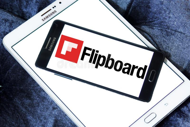 Flipboard logo. Logo of Flipboard on samsung mobile. Flipboard is a news aggregation and social network aggregation company. It aggregates content from social royalty free stock photography