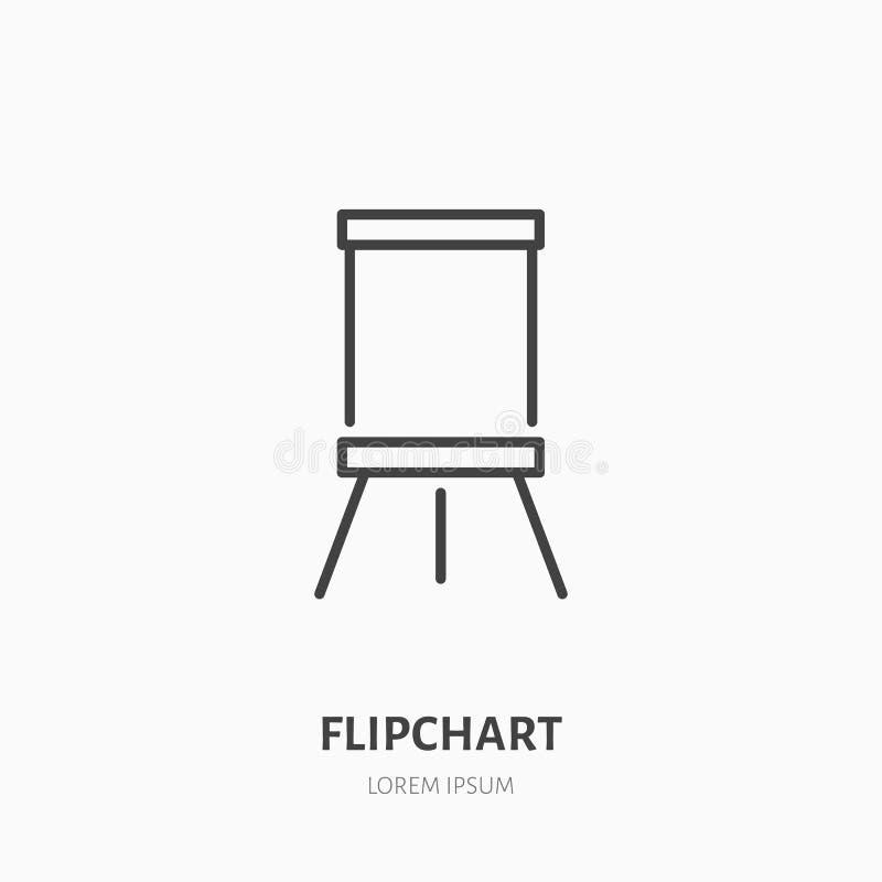 Flipchart平的线象 标志板标志 介绍教室的稀薄的线性商标 库存例证