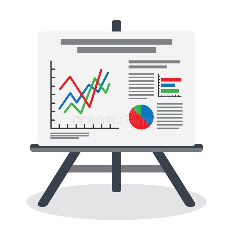 Flipchart, экран whiteboard с данными по маркетинга иллюстрация штока