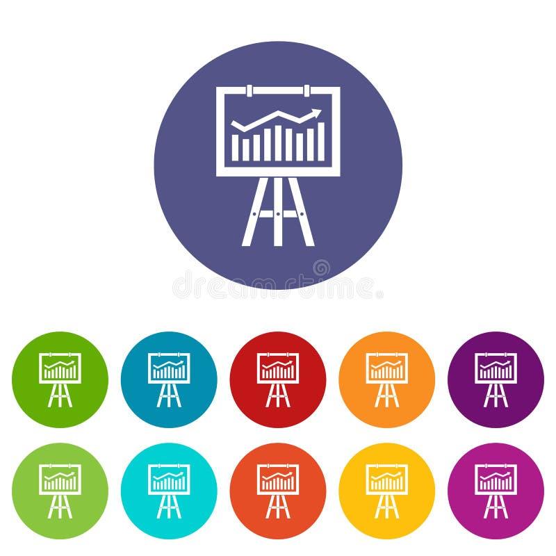 Flipchart avec des icônes d'ensemble de données de vente illustration stock