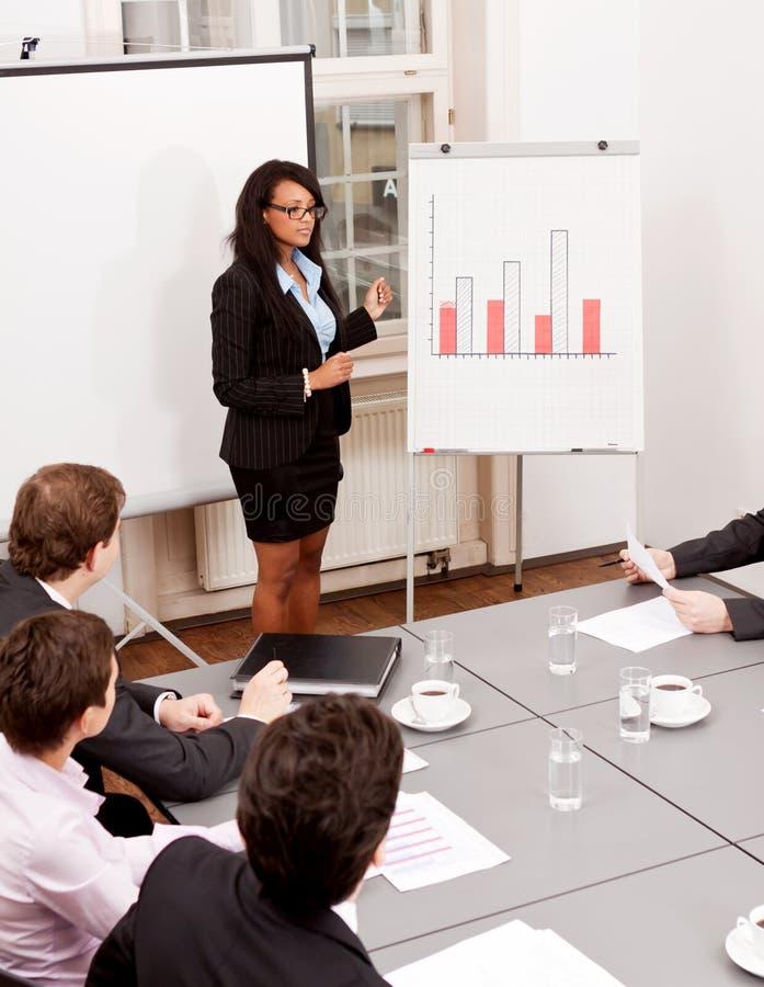 Flipchart da apresentação da reunião de negócios fotos de stock