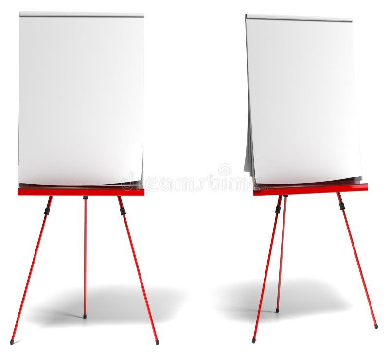 Flipchart rojo del entrenamiento stock de ilustración