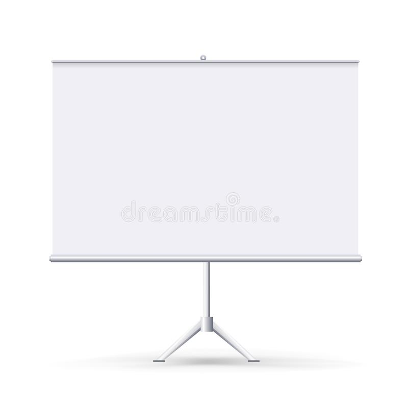 Flipchart vide réaliste d'isolement sur le fond propre blanc Horizontaux blancs enroulent la bannière pour la présentation image libre de droits