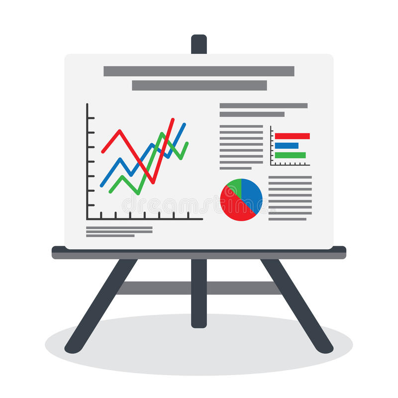 Flipchart, whiteboard screen with marketing data. Presentation whiteboard with market data and statistics for future marketing campaign and business strategies stock illustration