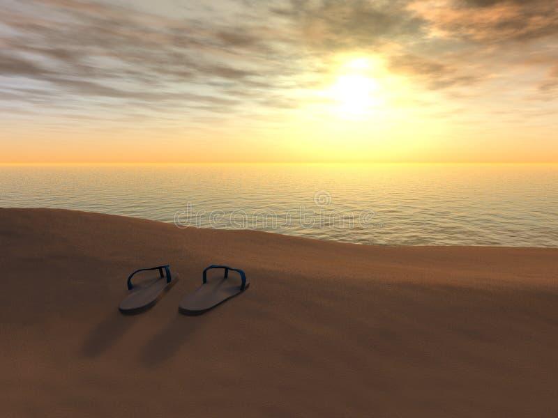 Flipflops auf einem Strand am Sonnenuntergang. stock abbildung