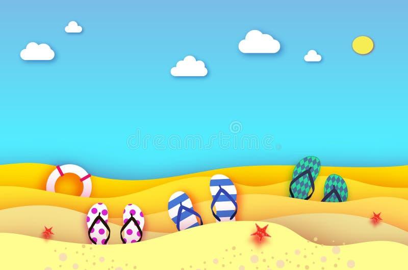 Flipflops kują w papieru cięcia stylu Origami plaża z lifebuoy i morze Sport balowa gra Urlopowy i podróż pojęcie ilustracji