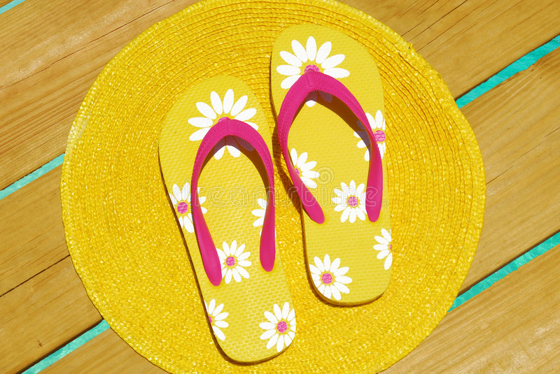 Download Flipflops on Ocean Dock stock image. Image of flipflops - 5214865