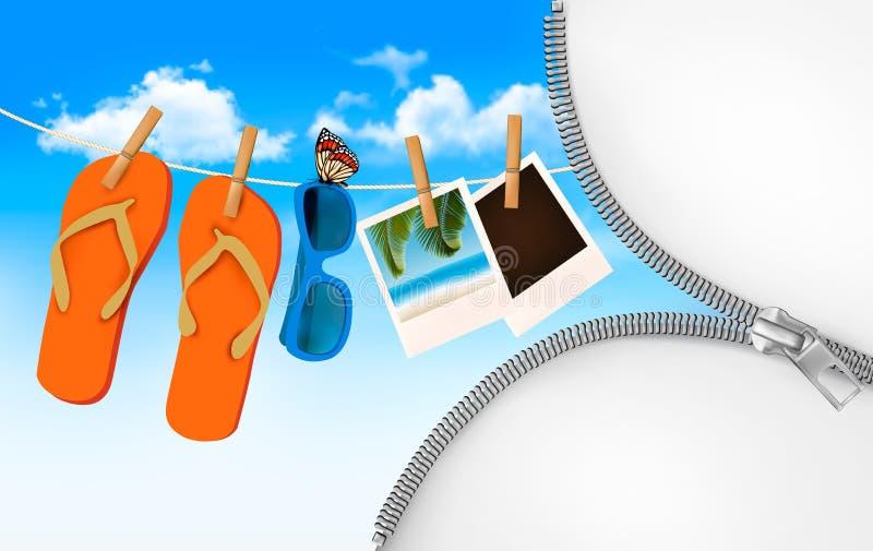 Flipflops, Sonnenbrille und Fotokarten, die an einem Seil hängen. Sommer vektor abbildung