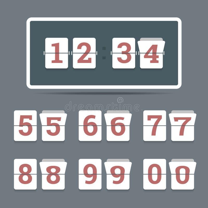 Flipklocka i plan stil med alla bläddrande nummer vektor illustrationer