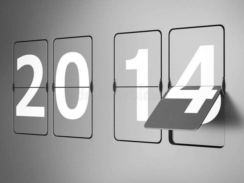 Flipklocka med 2014 tecken. Begrepp för nytt år royaltyfri illustrationer