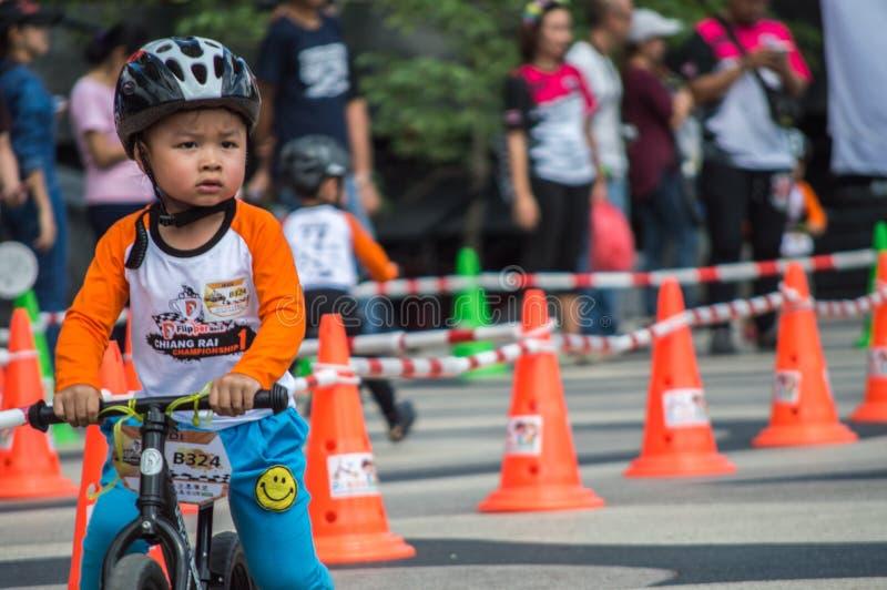 Flipper Balance Bike Chiangrai Championship, Children participate in balance bicycle race. Chiang Rai, Thailand - November 12, 2017 : Flipper Balance Bike stock image