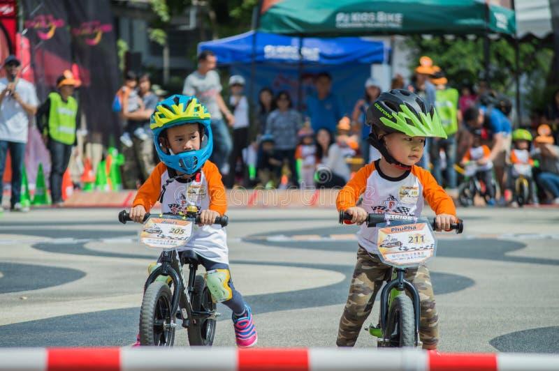 Flipper Balance Bike Chiangrai Championship, Children participate in balance bicycle race. Chiang Rai, Thailand - November 12, 2017 : Flipper Balance Bike stock images