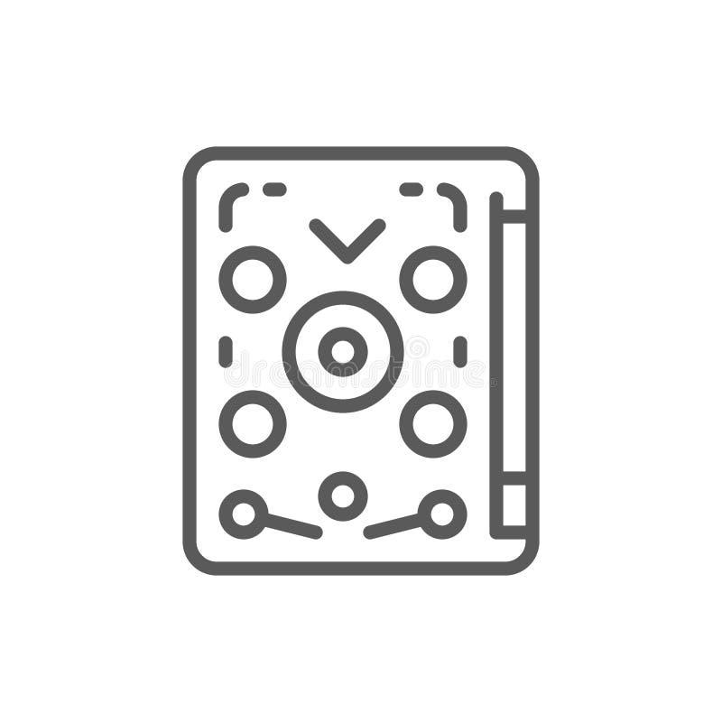 Flipper, jouant la machine, ligne icône de jeu illustration de vecteur