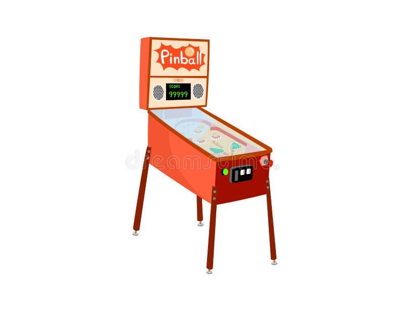 Flipperautomatmaschine lokalisiert auf weißem Hintergrund lizenzfreie abbildung