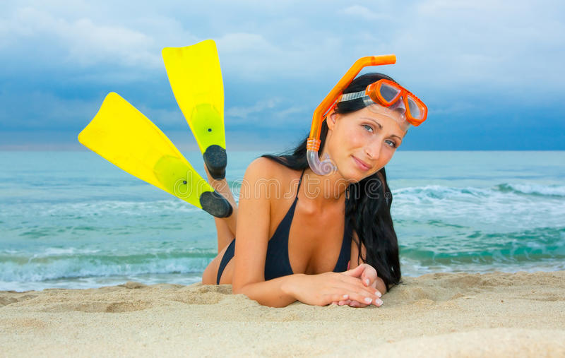 Download Flippers Snorkel Diving Woman Stock Image - Image: 10638409
